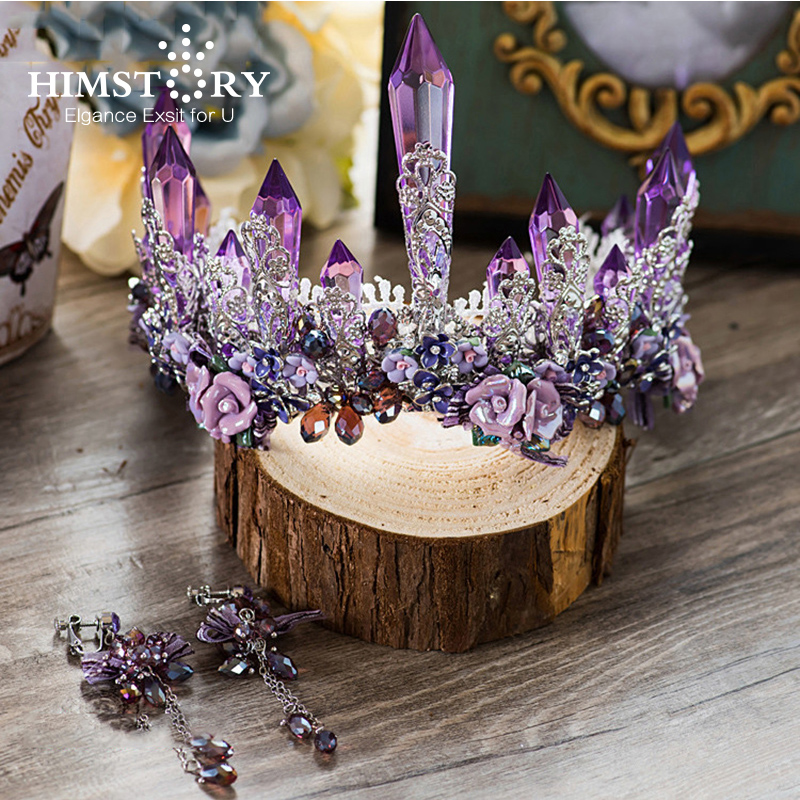 HIMSTORY Dreamty Luxurious Sparkling Purple Violet Crystal Flower Bridal Wedding Crown Tiaras Earring Beautiful Headpiece