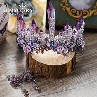 HIMSTORY Dreamty Lujoso Sparkling Purple Violet Crystal Flor Nupcial Corona Tiaras de La Boda Pendiente Hermoso Casco