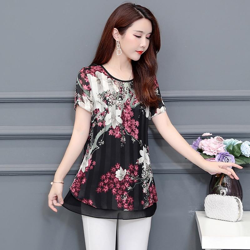 Chiffon   shirt   2019 New Summer short sleeves L-5xl Plus size Women's Clothing chiffon   blouse     shirt   Women tops chiffon print 988G3