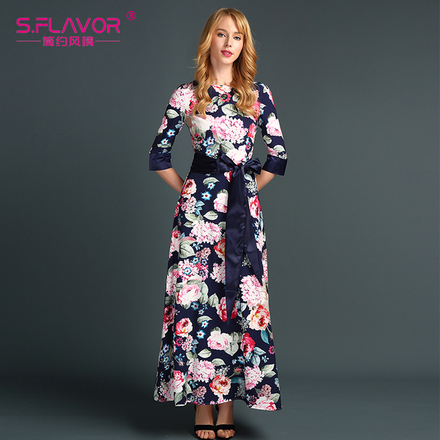 S.FLAVOR women summer dress 2017 New Fashion Print Maxi Dress Women Casual Elegant Floral Long Dresses without pockets