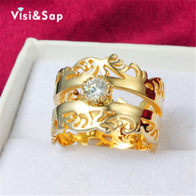 Rock King Rings for Men women wedding bands engagement Bijoux fashion Jewelry luxury cz diamond 18K yellow Gold Plated V18KR016