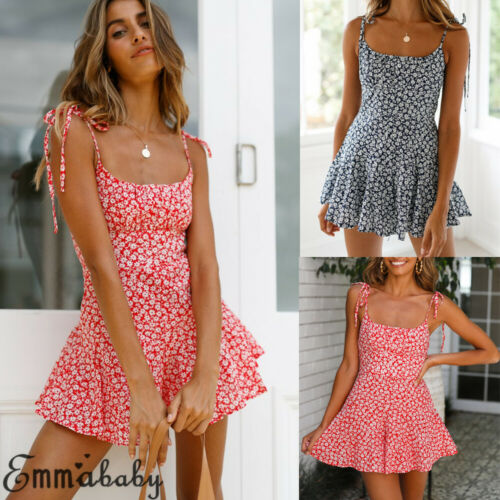 Women Sleeveless Strappy Floral Playsuit Jumpsuit Ladies Summer A Line Hot Trousers Sundress Holiday