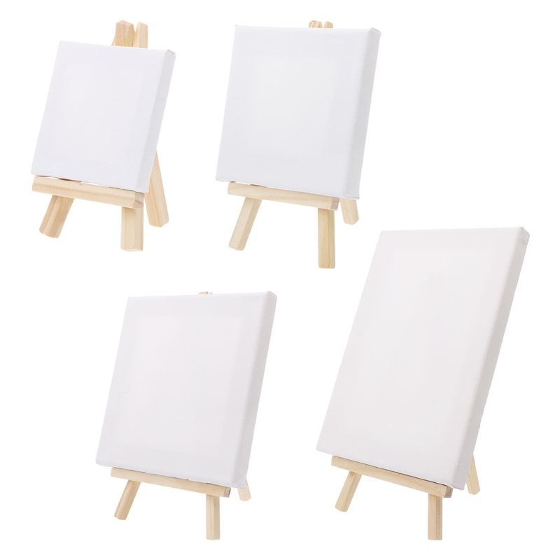 High Quality Blank Stretched Mini Canvas And Natural Wood Easel Set Displaying Pictures Business Cards With 7x12cm  And 7x7cm