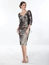 custom-made sleeves vestido de festa renda 2014 new design sexy v-neck free shipping Mother of the Bride Dresses knee length