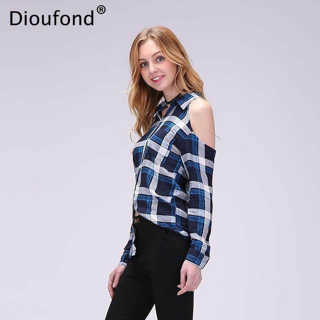 4d377a37c7 placeholder Dioufond Spring Red Plaid Off Shoulder Tops Shirts For Women  Long Sleeve Blouse Sexy Blouses V