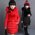 Meninas Longo Fino Jaqueta casaco Menina de Inverno 2016 quente grossa jaqueta de algodão com capuz Bebê menina grande gola de pele Casaco Outerwear