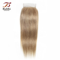 Bobbi Collection Color 8 Light Brown Ash Blonde 4x4 Lace Closure Brazilian Straight Remy Human Hair Free Part Middle Three Part