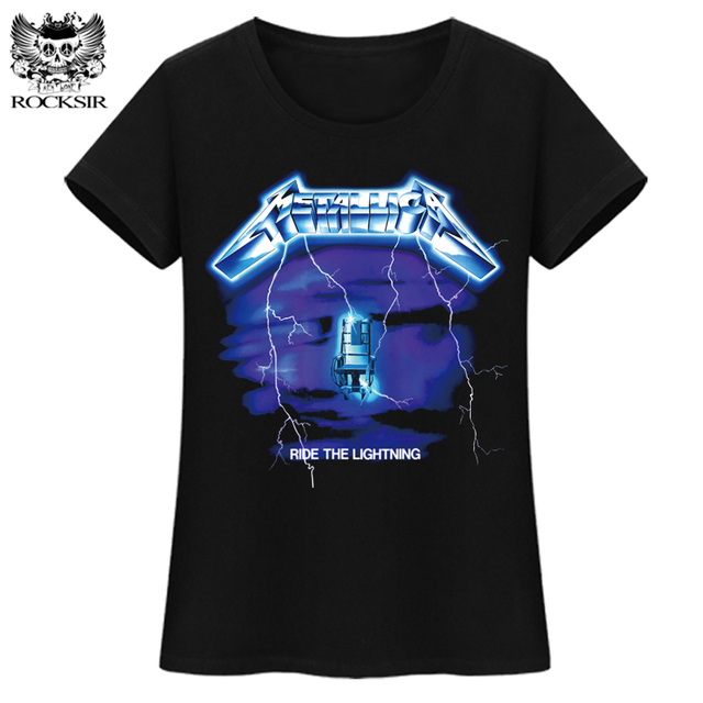 70c7c80a ROCKSIR Metallica ride the lightning T-shirts women Printed Tops t shirts  Tee Casual Cotton