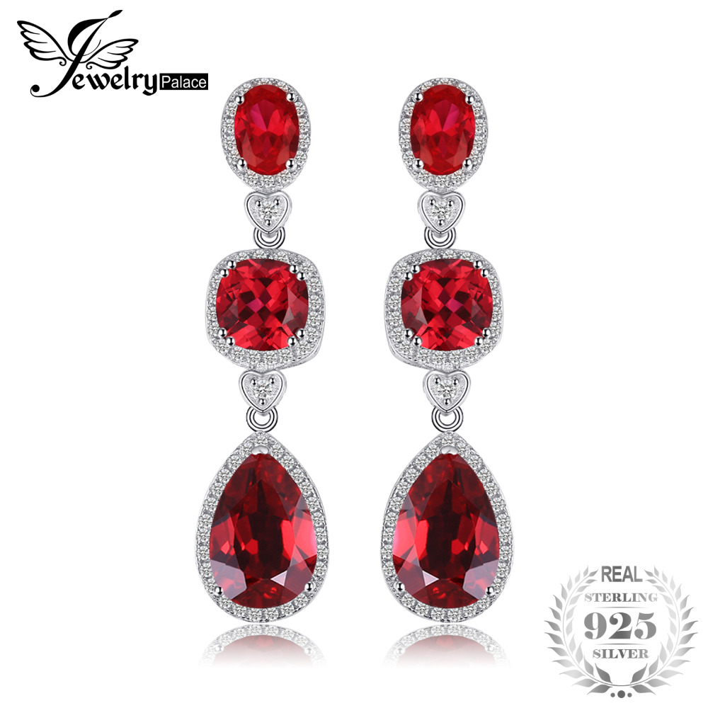 JewelryPalace Water Drop 8.8ct Created Red Ruby Dangle Earrings Solid 925 Sterling Silver 6qpuLa6ttw