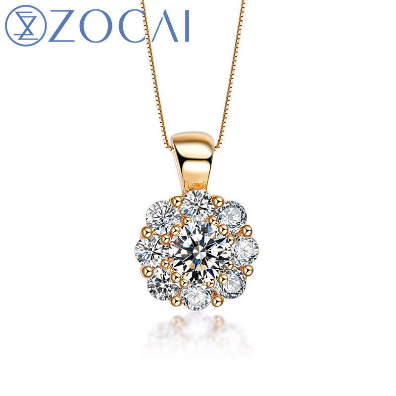ZOCAI Brand Necklace 18K Yellow Gold 0.48 Ct Certified Diamond Pendant with 925 Silver Chain as Gift D04673 zocai brand wedding necklace real gia certificated 0 35 ct fancy intense yellow diamond 18k white gold pendant 925 silver chain