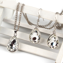 1set Vintage silver Water drop Pendant Necklace & earrings Fashion Jewelr white