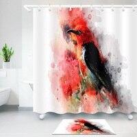 油絵シャワーカーテン環境保護ポリエステル高品質洗える浴室装飾シャワーカーテン