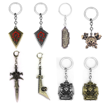 Hot Sale New BLZ Game World Of Warcraft Keychain Engraved WOW Logo Metal Keyring for Man Dropshipping hot game starcraft 2 zerg logo metal keychain for men jewelry