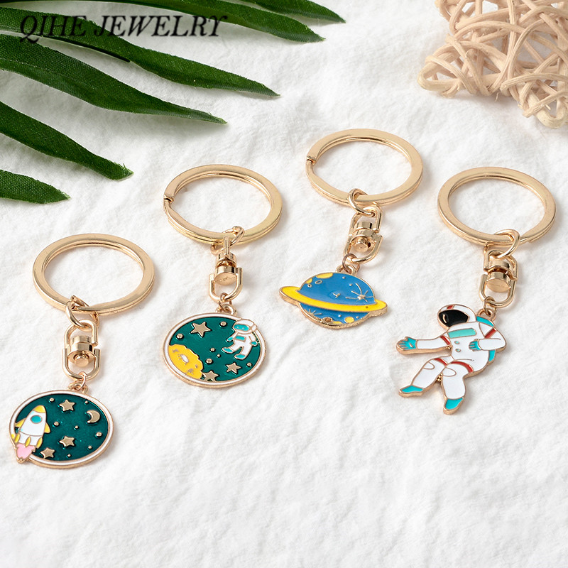 QIHE JEWELRY Astronaut Key Chains Space Travel Collection Keychain Planet Star Galaxy Keyring Key Charm Gift For Space Lover