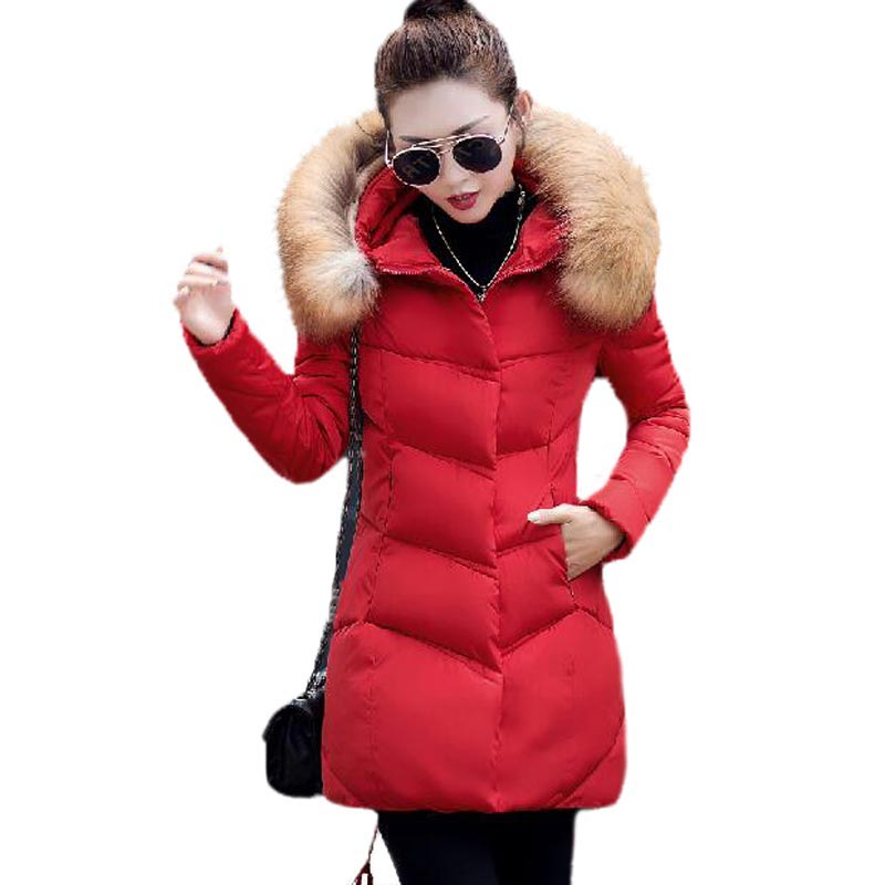 2017 New Winter Jacket Women Fur Collar Hooded Thickening Cotton Padded Coat Slim Long Section Outwear Parkas PW0399 2015 winter jacket women cotton padded jacket women fur collar ladies winter coat thickening outerwear long denim parkas h4451
