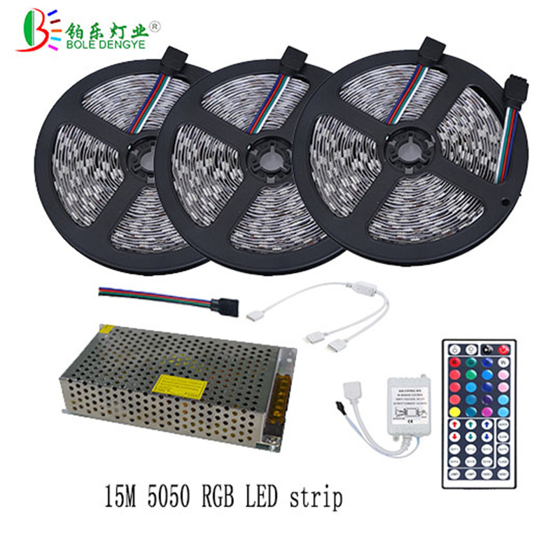 15M 10M 5M 30led/m IP20 LED Strip 5050 Lighting led Tape With 12V 44 Key Wireless IR Remote Controller RGB Light AC110V/220V