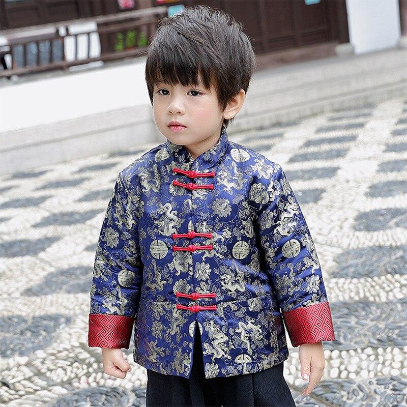 Hiver garçon veste matelassée enfants Dragon et Phoenix Cheongsam Top vêtements manteau traditionnel