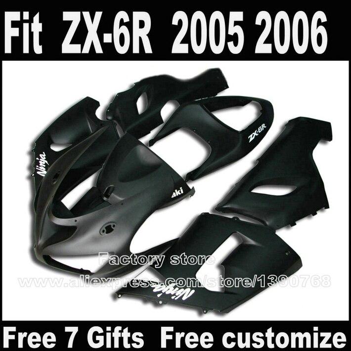 Low price! Motorcycle body kit for Kawasaki ZX6R fairings 2005 2006 all black ZX-6R 05 06 Ninja 636 fairing kits +7gifts