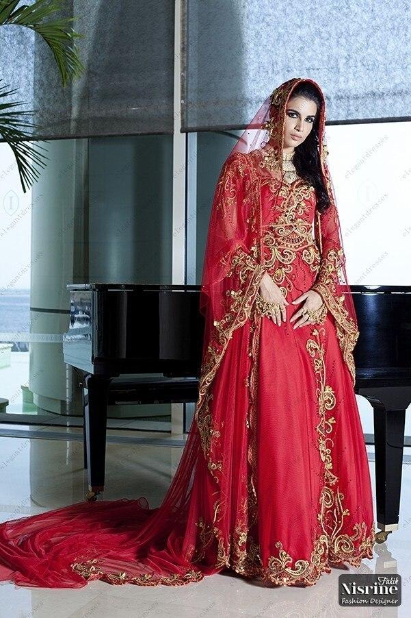 Tienda Online Por encargo vestidos de boda árabes vestidos tradicional árabe vestido de boda con manga larga roja Dubai