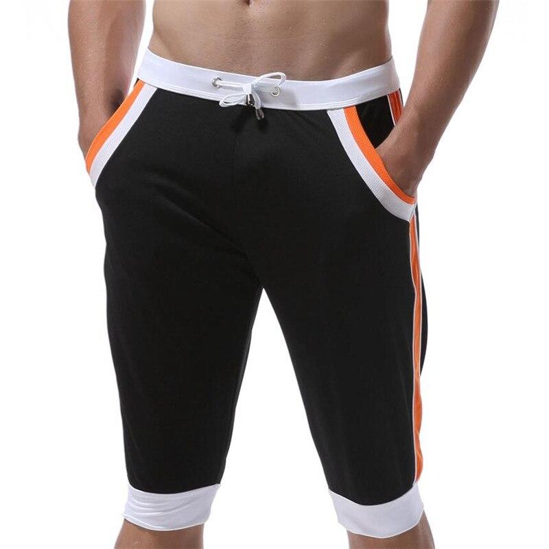 WJ Летние повседневные спортивные шорты, мужские брюки, эластичные Брендовые мужские капри, модные облегающие спортивные шорты длиной до колен, быстросохнущие шорты для тренировок - Цвет: Orange black