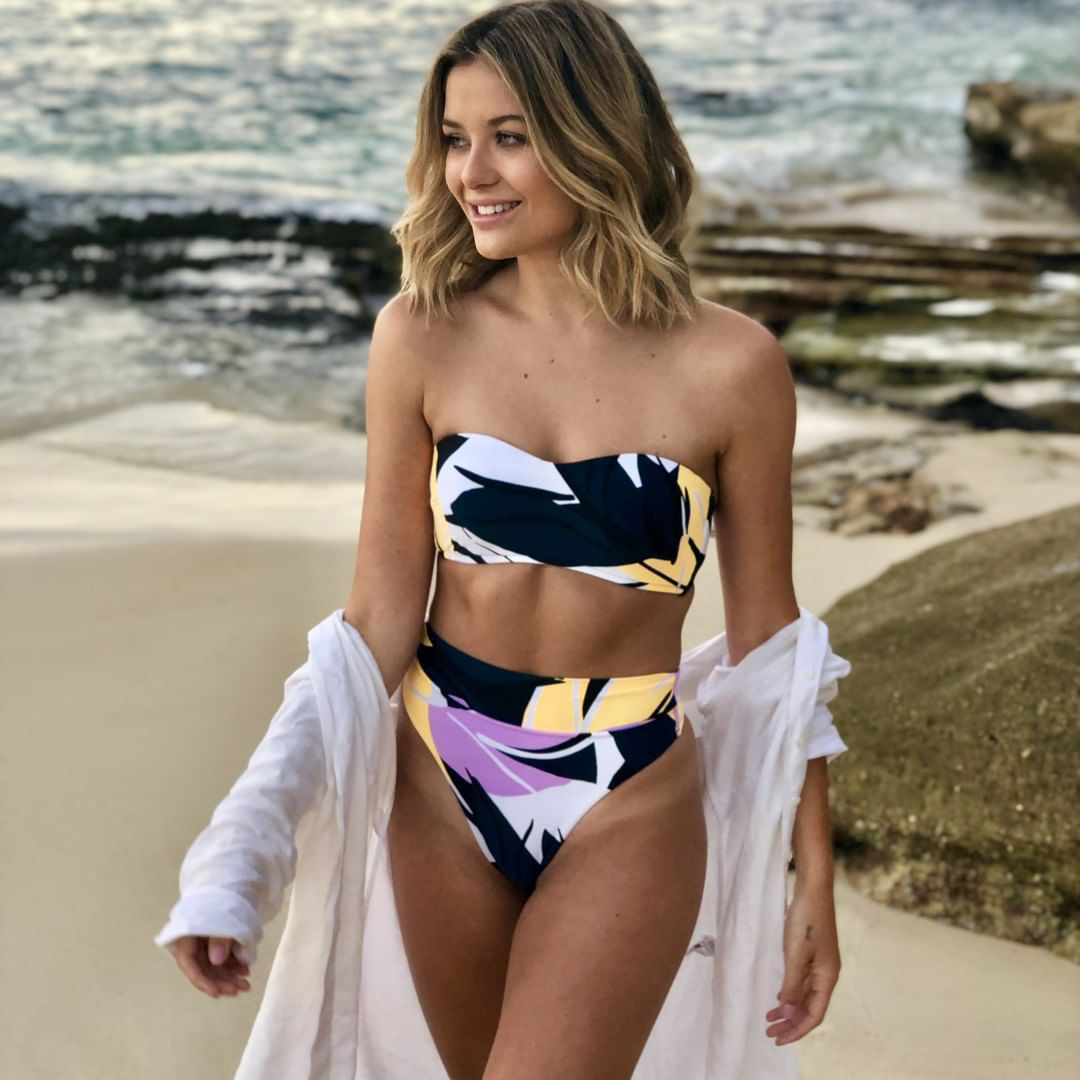 Hirigin Sexy Strapless Bikini Set Flower Swimwear Women 2019 High Wasit Push Up Padded Swimsuit Women Bathing Suit Swimming Wear