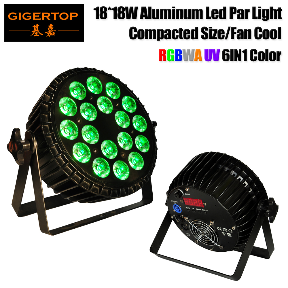 Gigertop TP P64 18x18W Casting Aluminum RGBWA UV 6IN1 Color Led Par Light Fan Cooling System Power Lock Connector IP20 6CH/10CH