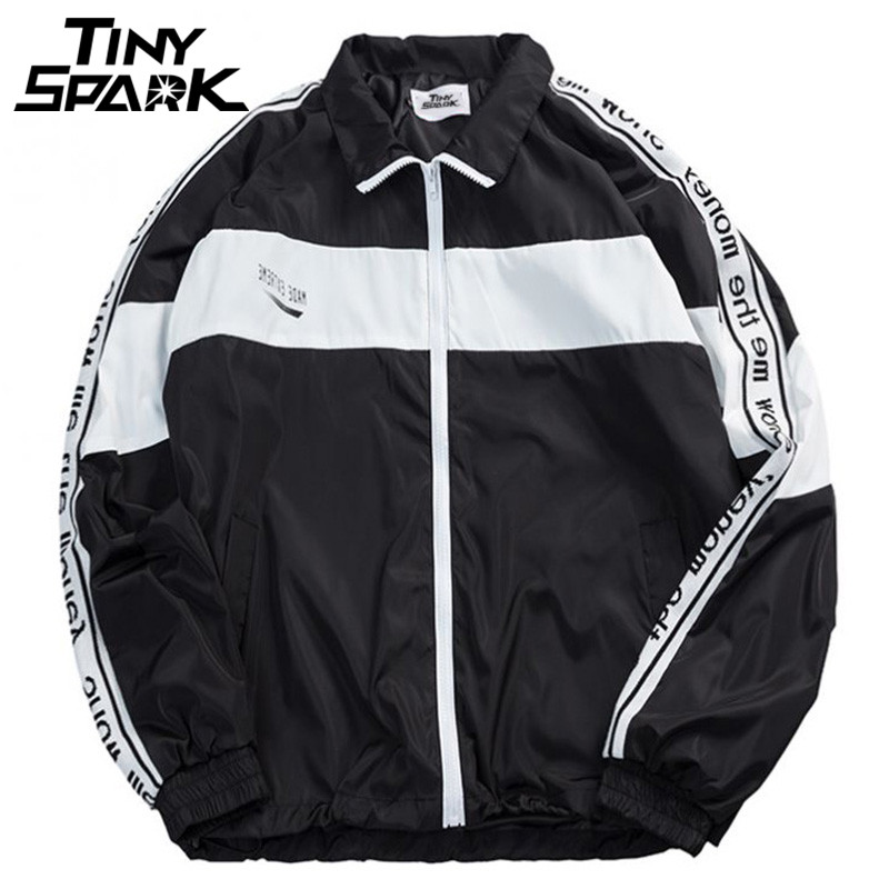 c368b23c2365 Men Full Zipper Windbreaker Jackets Coat Hip Hop Vintage Color Block ...