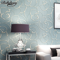 beibehang European Style 3D Relief Wallpaper Fine Pressure Nonwovens Bedroom Modern Simple Living Room TV Background Wallpaper