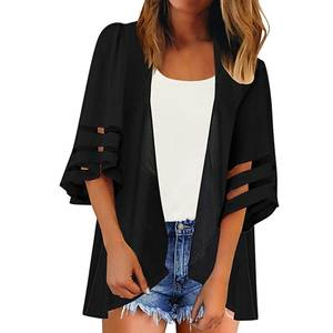 New Floral Print Kimono Cardigan 34 Bell Sleeve Chiffon Beach Loose Kimono Cardigan Summer Autumn Sun Protection Womens Blouses