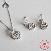 Genuine 100% S925 Sterling Silver Necklace Pendant Earrings Rotate Zircon Glamour Crown Women Jewelry Holiday Gift equte elegant s925 sterling silver white zircon pendant women s necklace white silver