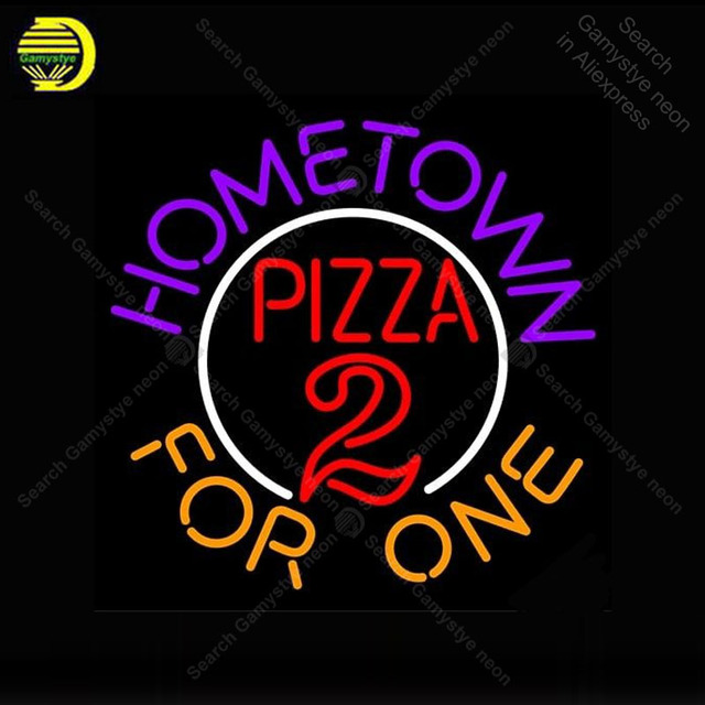 Neon Sign for Home town Pizza for One Neon Bulb Sign Display Beer Bar Light up wall sign Handcrafted Room Custom nein sign Lamp
