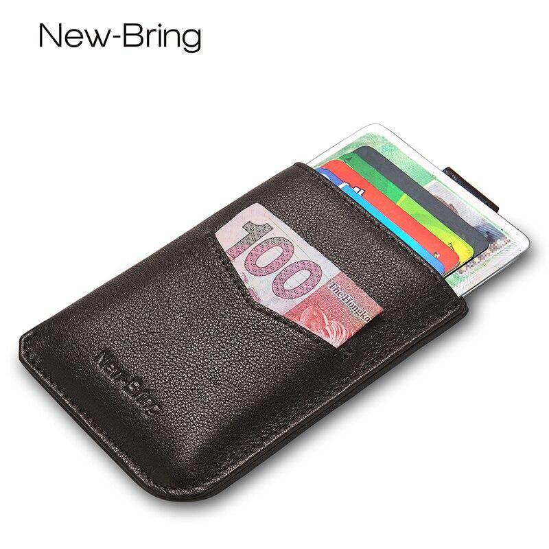 Slim Wallets for Men Women Genuine Leather Wallets Short Driver License Card Holder Compact Short Purse Minimalist Card Sleeve