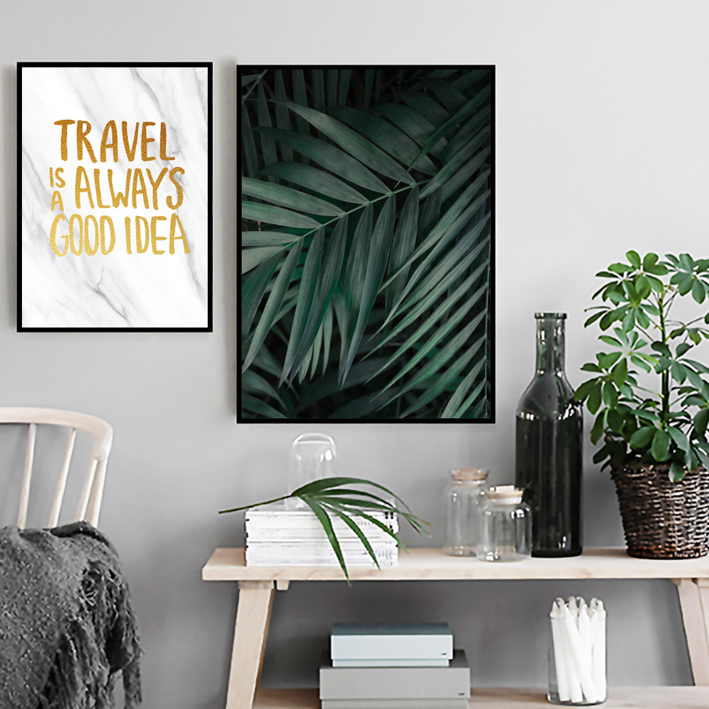 Image 3 - Green Plants Poster Leaves Canvas Painting Nordic Posters and Prints Quotes Wall Bedroom Pictures Wall Art Print Leaf Unframed-in Painting & Calligraphy from Home & Garden
