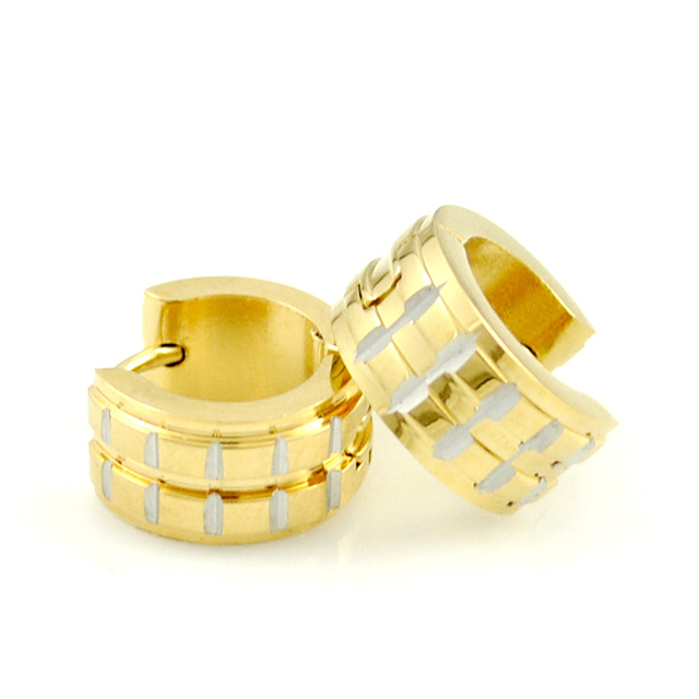 New Women Men Fashion Stainless Steel Punk Cool Earrings Grid Gold Earring Round Simple Ear Buckle