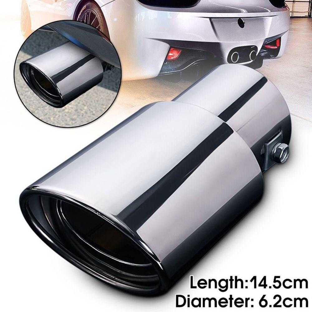Silenciador de tubo de escape redondo trasero Universal para coche, punta de escape de acero inoxidable cromada, silenciador de automóvil, accesorios de repuesto para coche