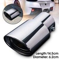 Universal traseira do carro redondo tubo de escape cauda silenciador ponta cromo aço inoxidável automóvel silenciador ponta substituição acessórios do carro|Silenciadores| |  -