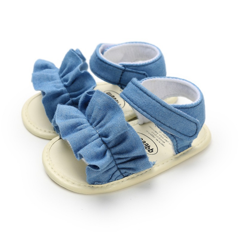 Baby Girl Shoes Summer Princess Baby Shoes Cotton Canvas Striped Bow Infant Newborn Beach Moccasins For Girls