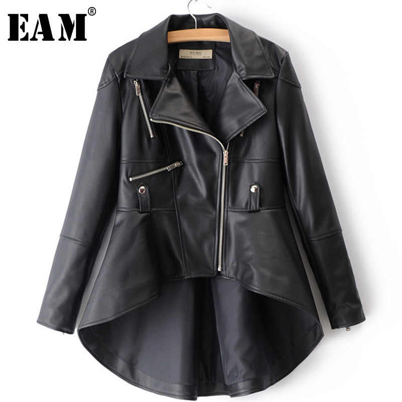 [EAM] 2019 Spring Woman Solid Color Long Sleeve Turn-down Collar Zippers Irregular Hem Loose PU Coat Jacket LD0325