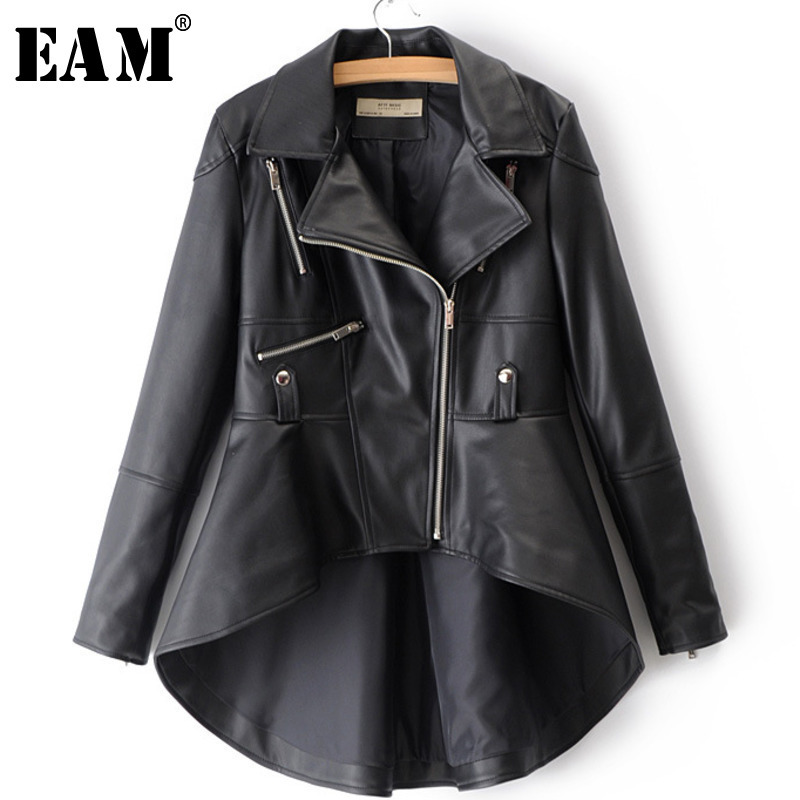 [EAM] 2019 Spring Woman Solid Color Long Sleeve Turn-  down   Collar Zippers Irregular Hem Loose PU   Coat   Jacket LD0325