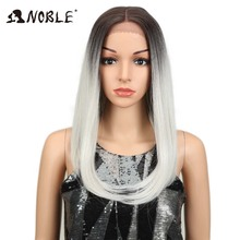 "Noble Synthetic Wig Lace Front Wigs 18""Inch Straight Ombre Silver"