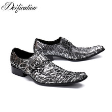 Stylish Printed Mens Italian Leather Shoes Big Buckle Strap Men Loafers sapato social masculino Hot Square Toe Wedding Shoes Men все цены