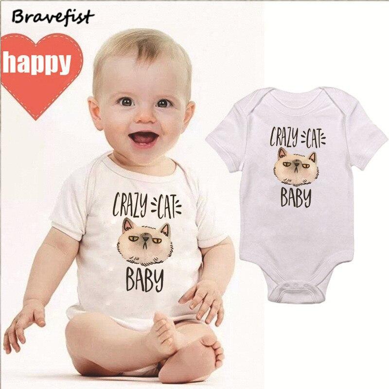 Cartoon Boys Girls Baby Clothes Newborn Bodysuits Summer Short Sleeve Infant Jumpsuits White Kids Outfits Crazy Cat Baby Onesie