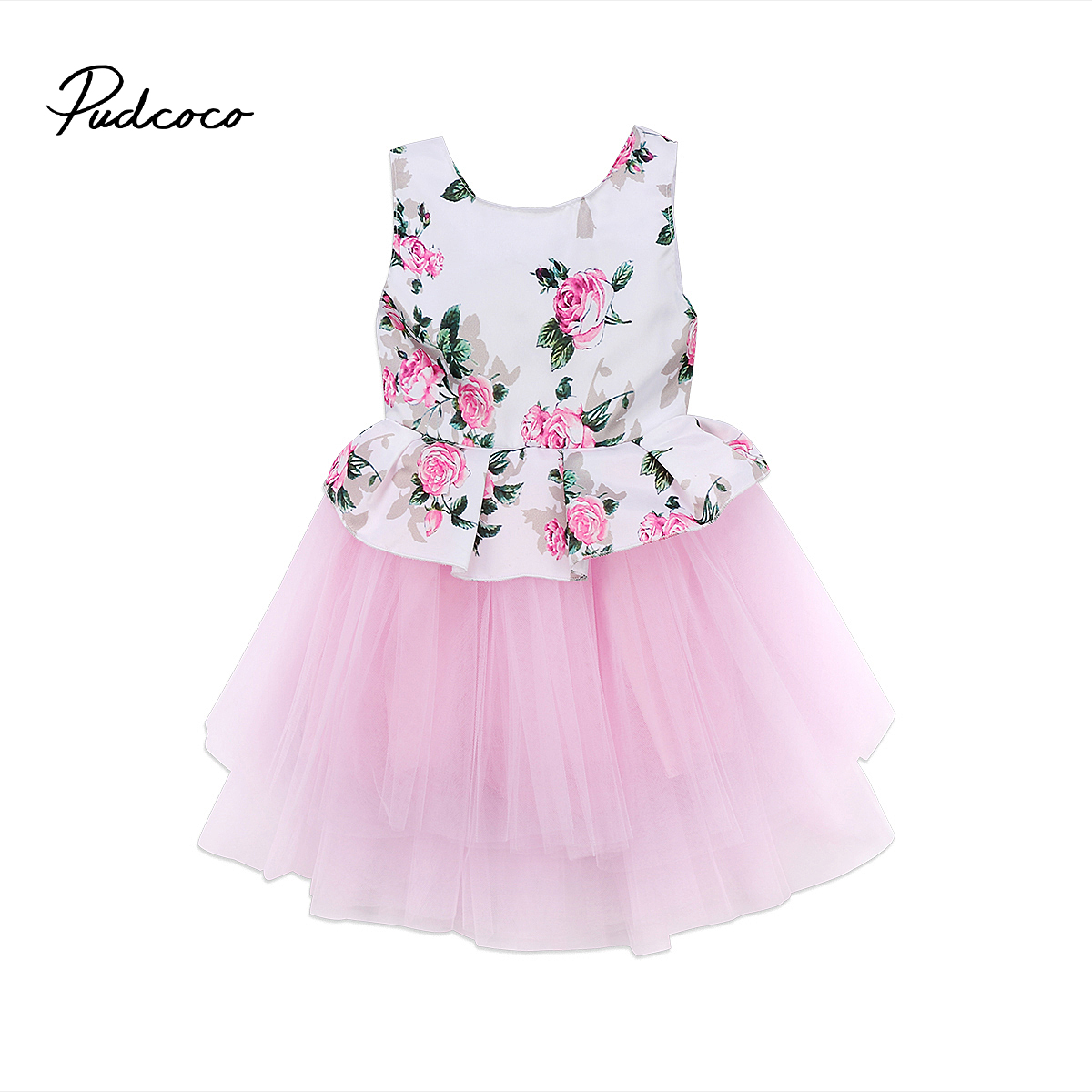 Princess Newborn Baby Girls Floral Pink Tutu Tulle Party Dress Sleeveless Flower Print Ball Gown Dresses Kids Clothes Outfits