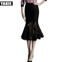 YAKIE Women Elegant Floral Lace High Waist Wear to Work Office Party Bodycon Fitted Skirt feamle trumpet mermaid womens skirts