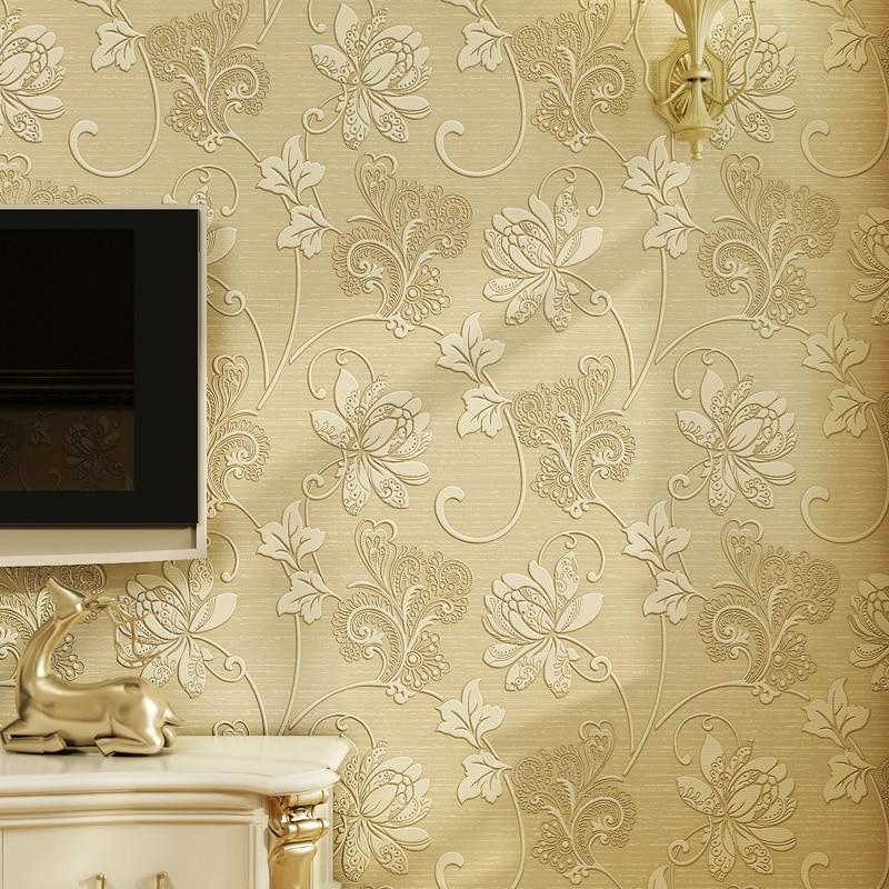 Роскошные итальянские Стиль Современный 3D тиснением Задний план обои для Гостиная Спальня цветочный обоев рабочего стола обои
