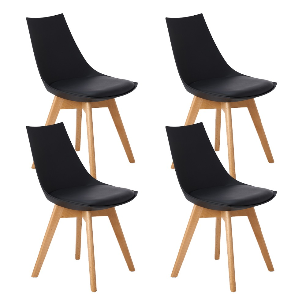 EGGREE 4PC Kitchen Chairs, Wooden Chair, Mirror Frame With Feet, Office Room Of Beech Wood And Metal Frame,Black Solid Legs eggree 4pc kitchen chairs wooden chair mirror frame with feet office room of beech wood and metal frame black solid legs