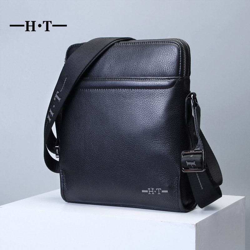 цены HT 100% Genuine Leather Messenger Bag Mans Crossbody Bags Brand New Business Style Shoulder Handbags Black Satchel Bolsa Male