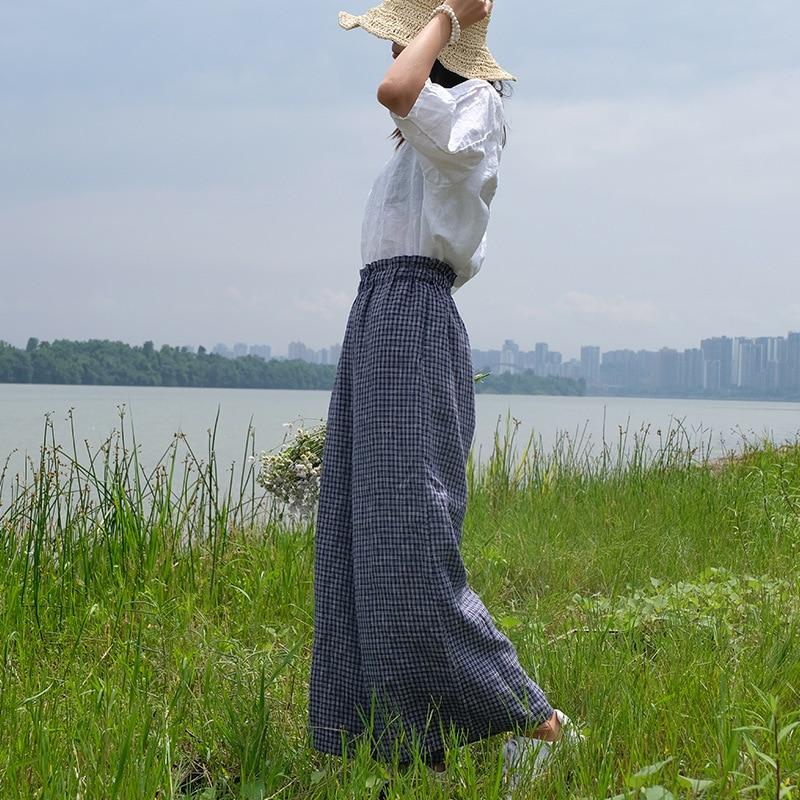 Mujeres 2018 De Tela Las Del Verano Femenino Anchos Pantalones Elástico Lino Retro Cintura Señoras Escocesa Pierna Pantalón Plaid Ancho La BFAwxX