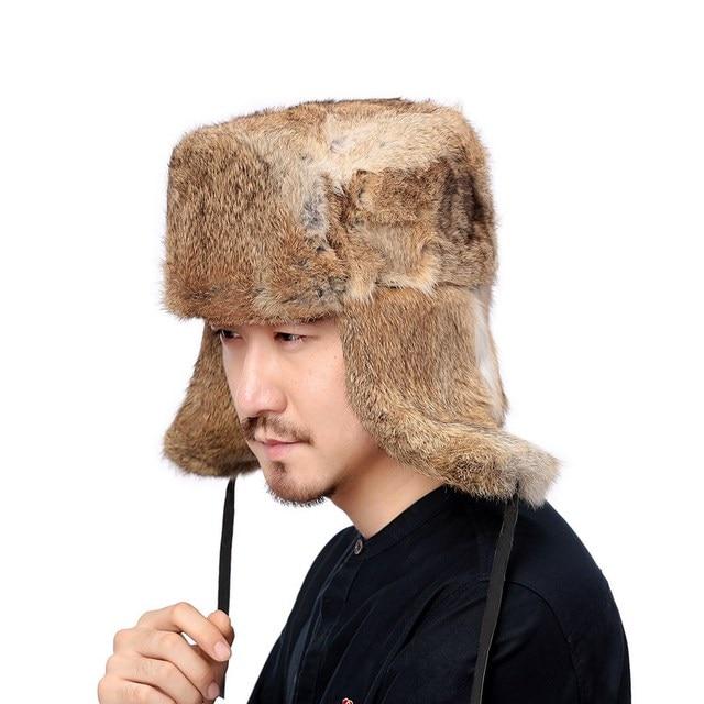 Valpeak Winter Bomber Hat Male Real Natural Rabbit Fur Hat Russian Hat  Ushanka Men Warm Trapper Aviator Hat with Earflaps 3d4617d74d42