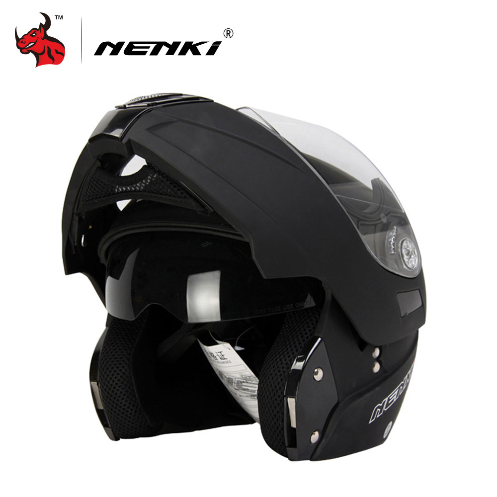 NENKI Motorcycle Full Face Helmet Safe Flip Up Motorcycle Helmet With Inner Sun Visor Black Motorcycle Racing Off Road Helmet a pcs motorcycle helmet highway racing off road full face helmet off road helmet pink star